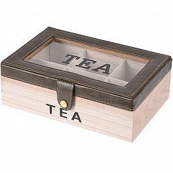 Box na čajové vrecúška s koženkou, 24 x 16 x 8 cm, sivá