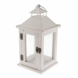 Drevený lampáš na čajovú sviečku Vivonne, biela