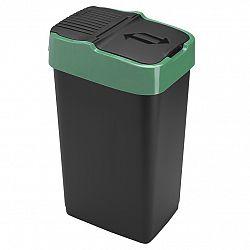 Heidrun Odpadkový kôš 35 l, čierny so zeleným pruhom