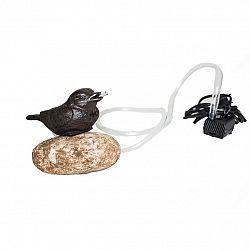 Liatinová pumpa Vtáčik na kameni, 15 x 10 x 12 cm