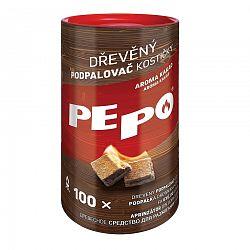PE-PO Drevený podpaľovač kocky, 100 ks