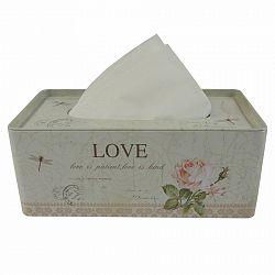 Plechový box na vreckovky Love, 21,5 cm