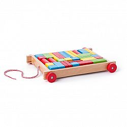 Woody vozík s kockami malý - 34 dielov